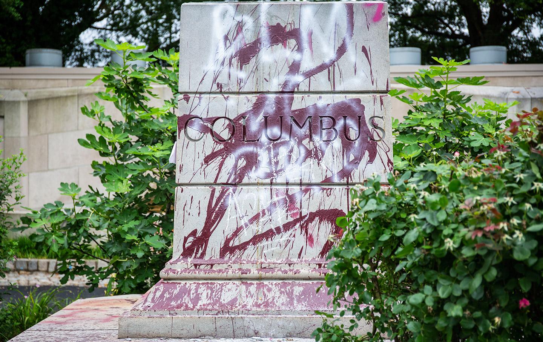 Christopher Columbus pedestal graffiti