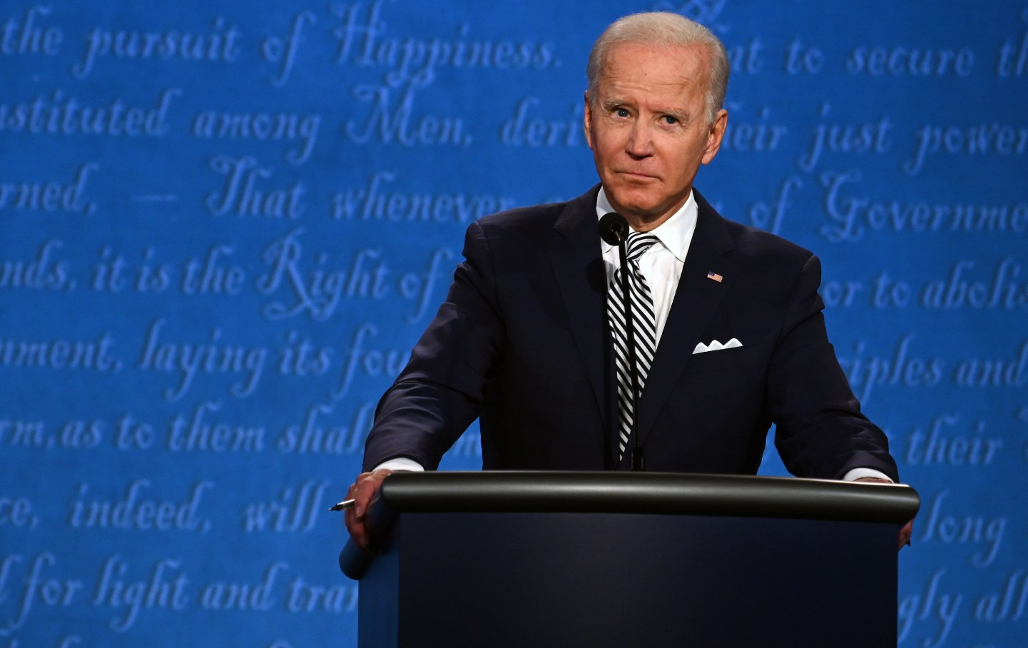 Joe Biden standing before a lectern
