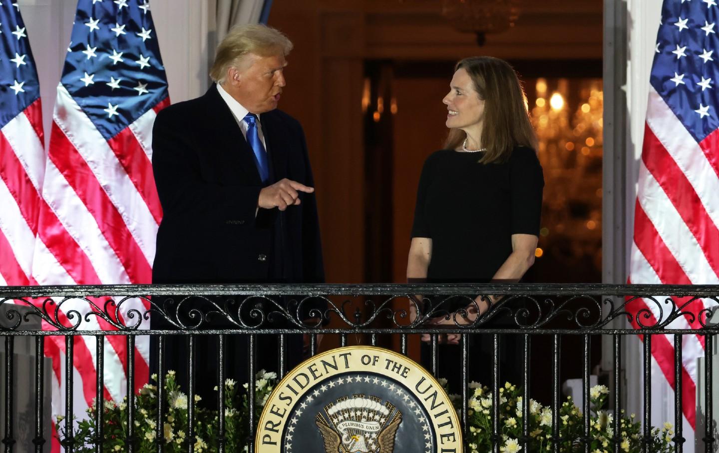 Donald Trump speaks to Amy Coney Barrett