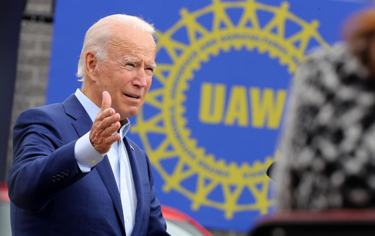 Joe Biden speaks outside UAW offices