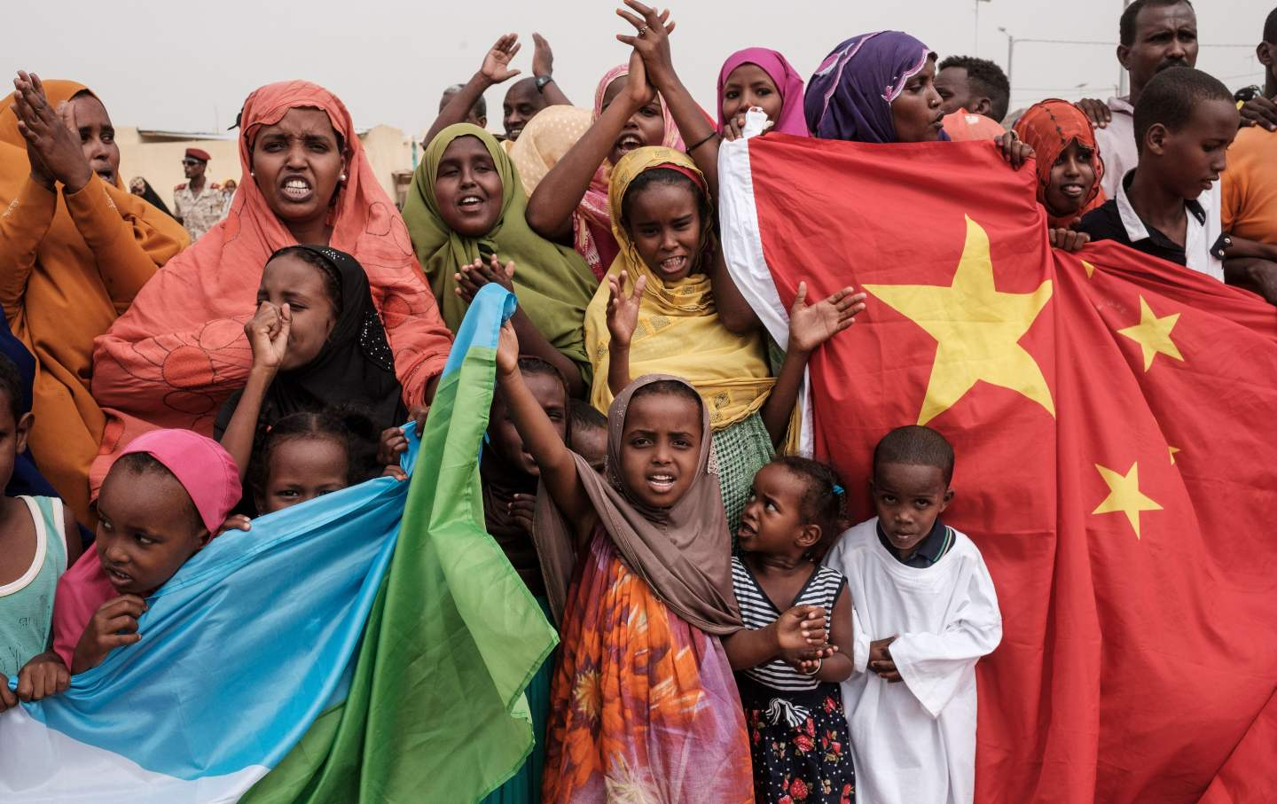 Chinese and Djiboutian national flags