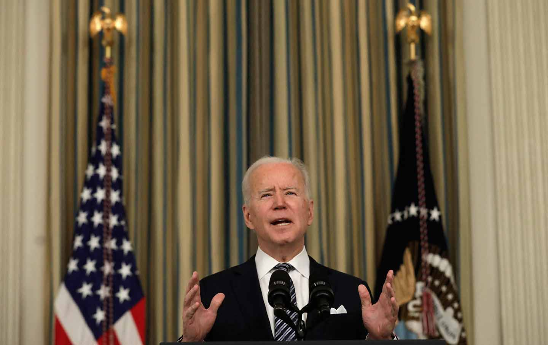 Joe Biden speaking about the American Rescue Plan Act