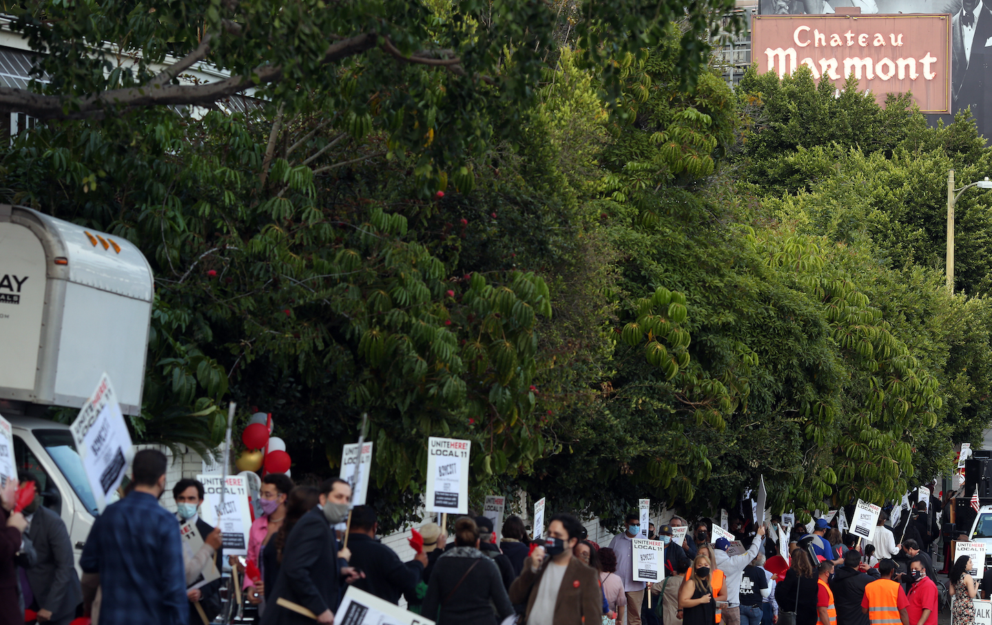 Protest outside Chateau Marmont against firing of workers