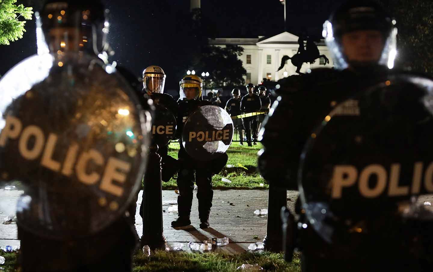 Police at a protest in Washington, DC