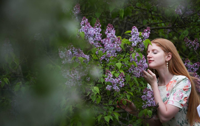 Girl, flowers
